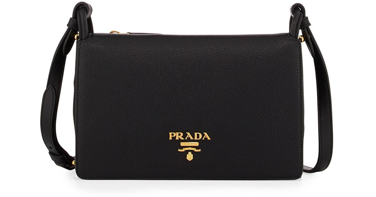 d0878a58087e Prada Vitello Daino Double-gusset Shoulder Bag in Black - Lyst