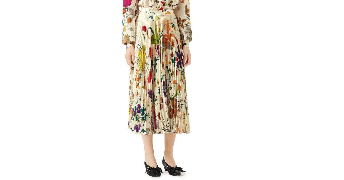 c2e4cc3578 Gucci Flora Gothic Pleated Silk Skirt - Lyst