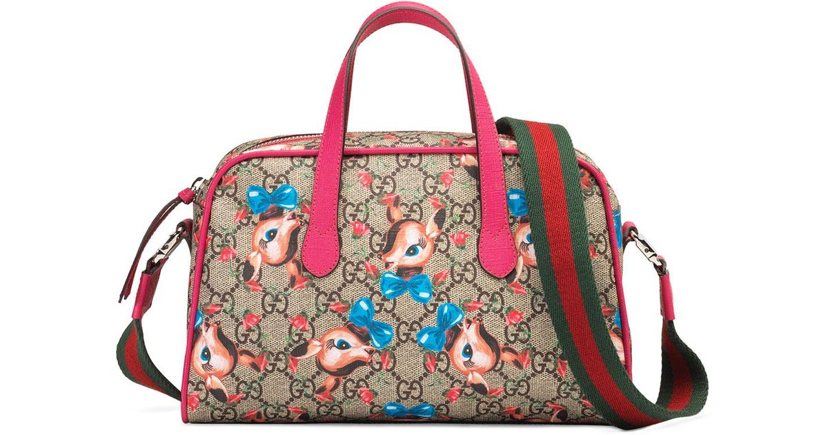 4fad741f040e Lyst - Gucci Kids  Gg Supreme Fawns Print Shoulder Bag in Brown