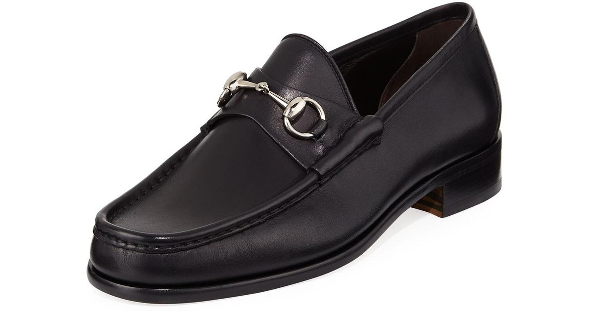 b2d6c3bf317 Lyst - Gucci Classic Leather Horsebit Loafer in Black for Men