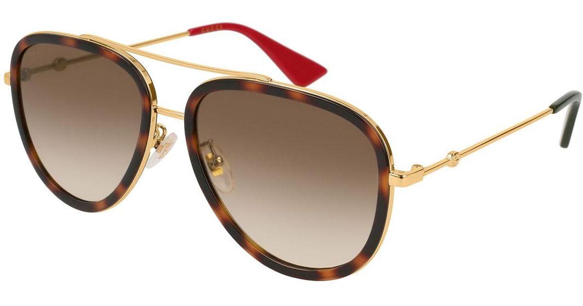 f7f609349fe Lyst - Gucci Metal Gradient Aviator Sunglasses in Metallic