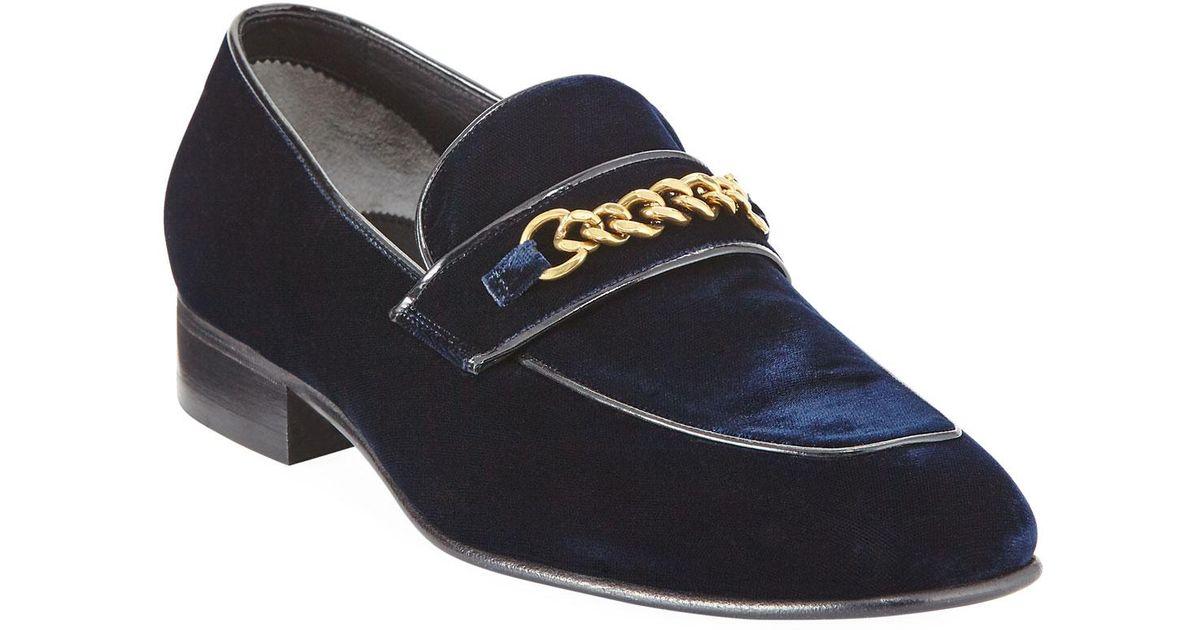c894b434eab Lyst - Tom Ford Velvet Chain-link Loafer in Blue for Men