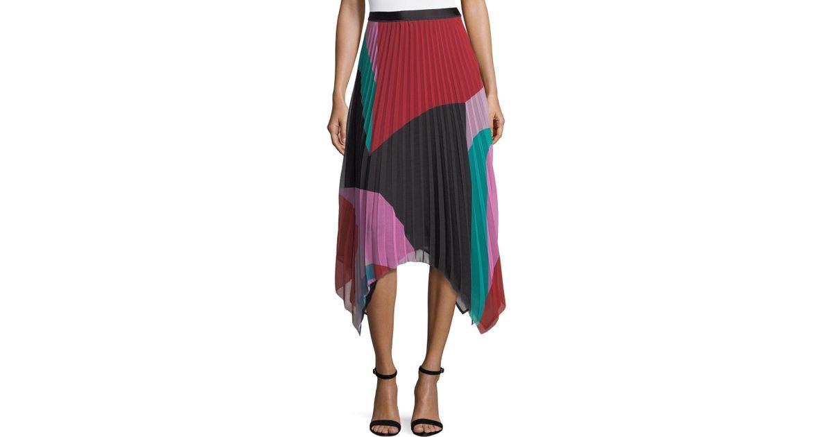 3c5898196 Lyst - Joie Dashiella Colorblocked Pleated Asymmetric Midi Skirt