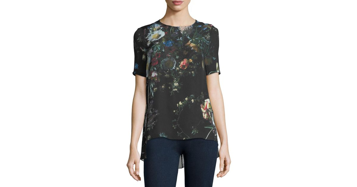 ff154be20 Lyst - Adam Lippes Floral-print Silk T-shirt in Black