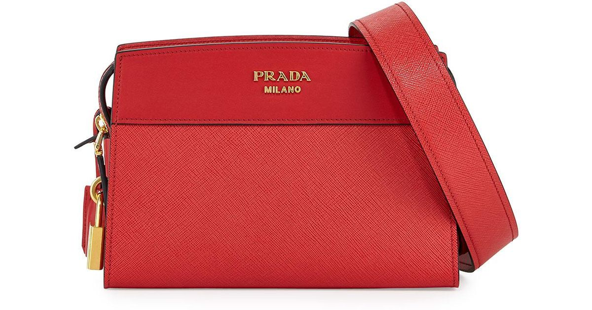 d01c8be45ff0 Lyst - Prada Esplanade Saffiano Crossbody Bag in Red