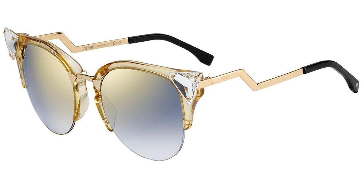 1004ca5016 Fendi Iridia Cat-eye Crystal-tip Sunglasses in Metallic - Lyst