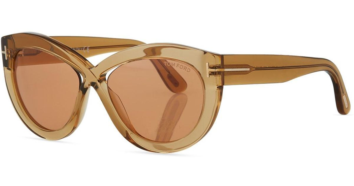 7cb2509f51 Tom Ford Diane Transparent Acetate Butterfly Sunglasses - Lyst