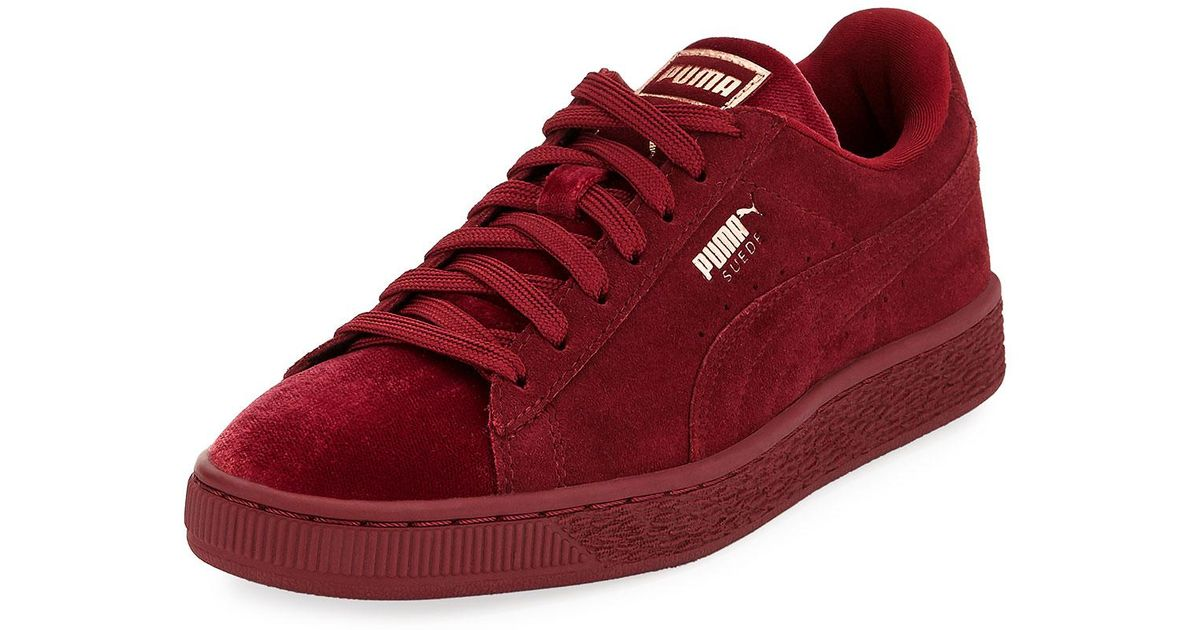 35c39afde248 Lyst - PUMA Classic Suede And Velvet Sneakers in Red
