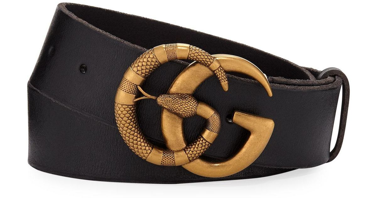 e2c90b833b4 Lyst - Gucci Men s Cuoio Toscano Snake GG Belt in Black for Men