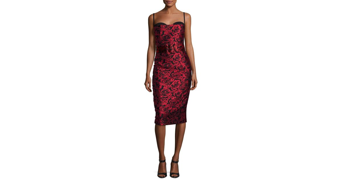 af2e32080e9 Michael Kors Rose Jacquard Bustier Cocktail Dress in Red - Lyst