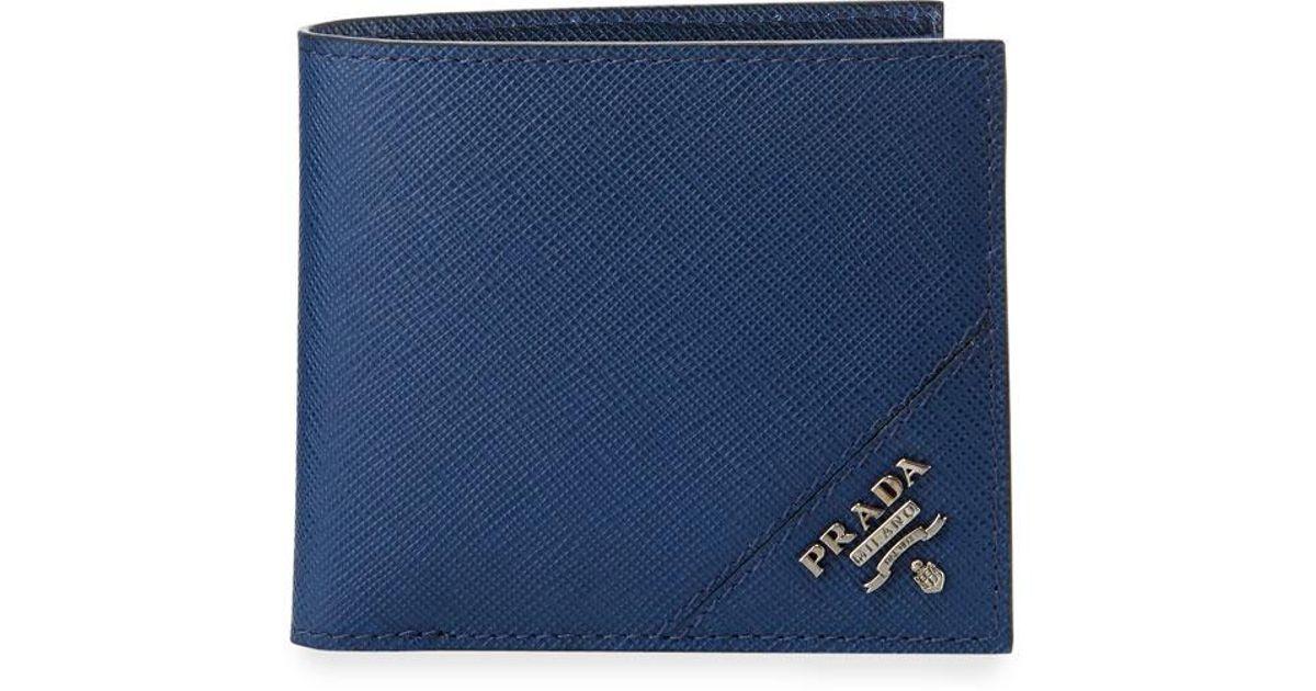 f7a41a0767c7f4 ... ireland lyst prada saffiano corner logo wallet in blue for men 3df96  f5256