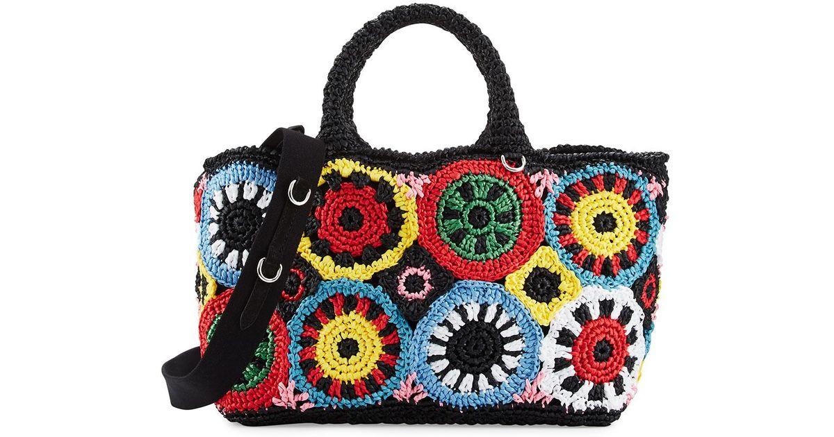 840beb680a1d Lyst - Prada Raffia Circle Tote Bag in Black