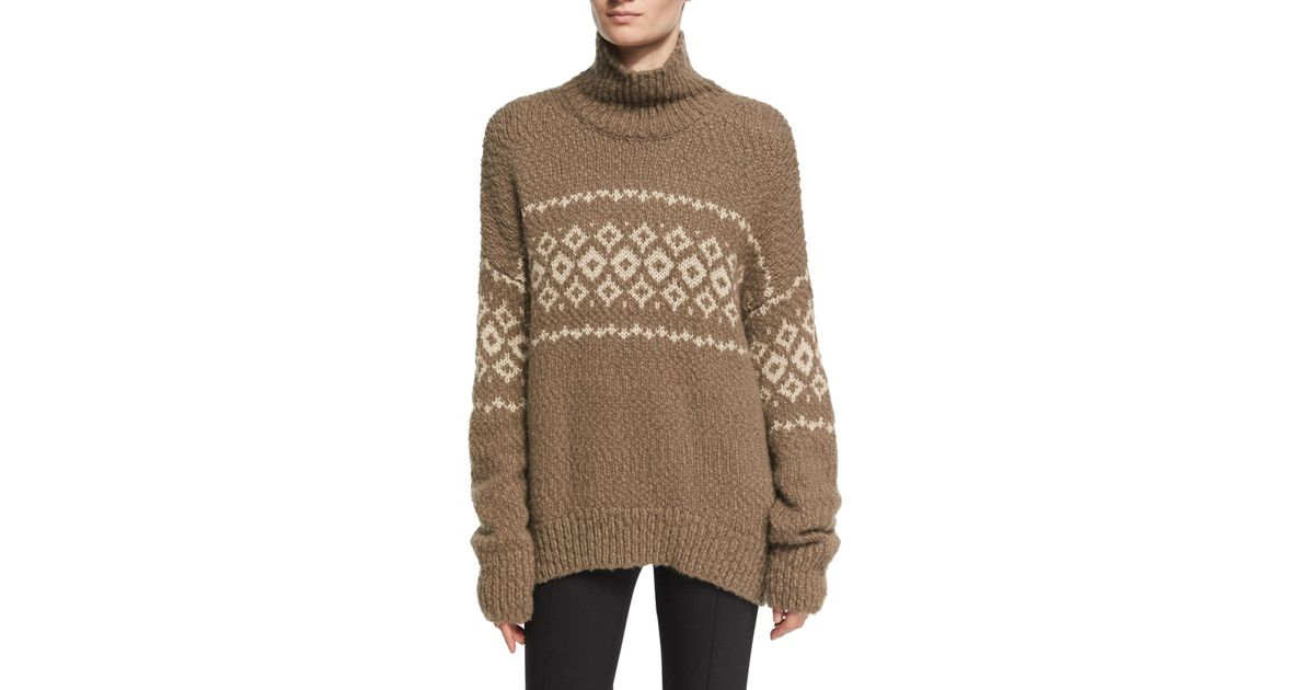 Vince Fair Isle Turtleneck Pullover Sweater in Brown   Lyst