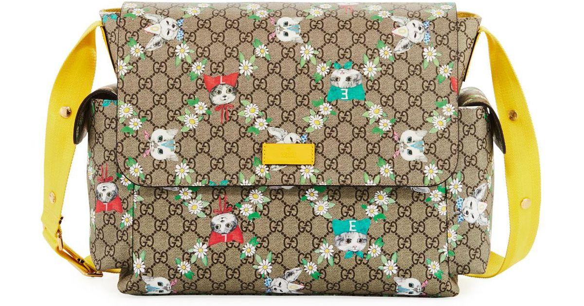 c2566df3e6a Lyst - Gucci Borsa Mamma Gg Supreme Canvas Cats Diaper Bag W  Changing Pad  in Natural