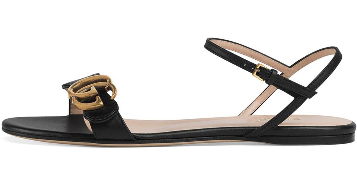8993131ce Gucci Marmont Leather Sandals in Black - Lyst