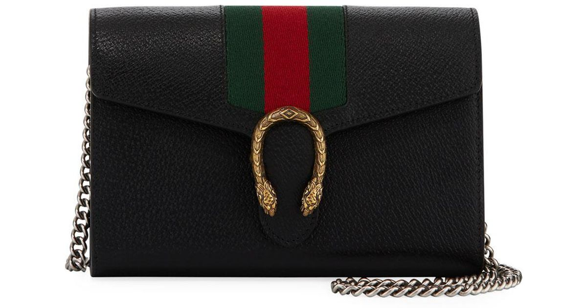 59b99362585e Gucci Dionysus Leather Wallet On A Chain in Black - Lyst