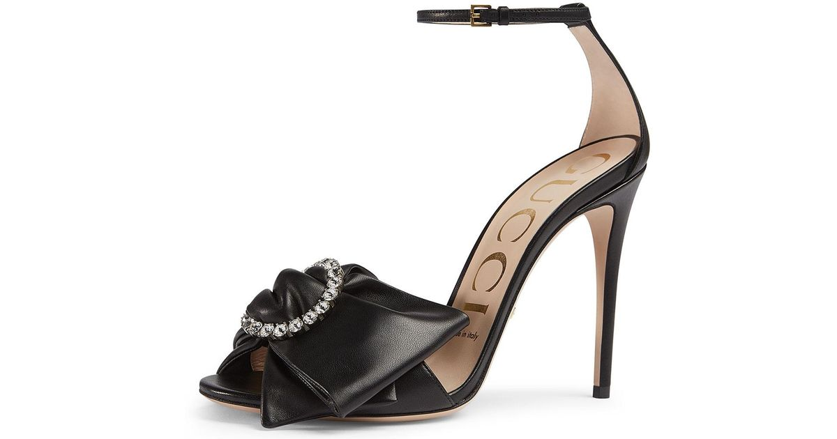 f8412053568 Lyst - Gucci Ilse Pleated Leather Bow Sandals in Black