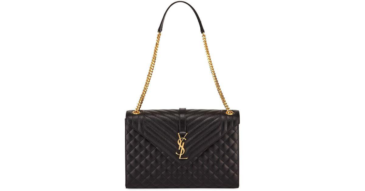43605773f415 Saint Laurent Monogram Ysl V-flap Large Tri-quilt Envelope Chain Shoulder  Bag - Golden Hardware in Black - Lyst