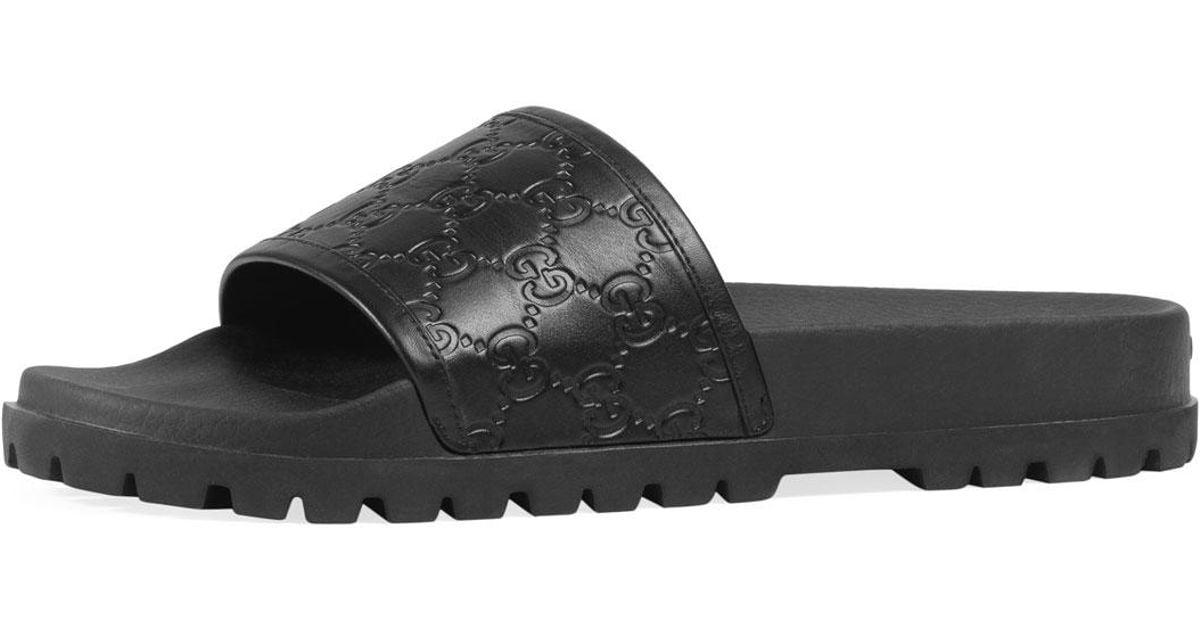 bc2d72a76 Lyst - Gucci Signature Slide Sandal in Black for Men