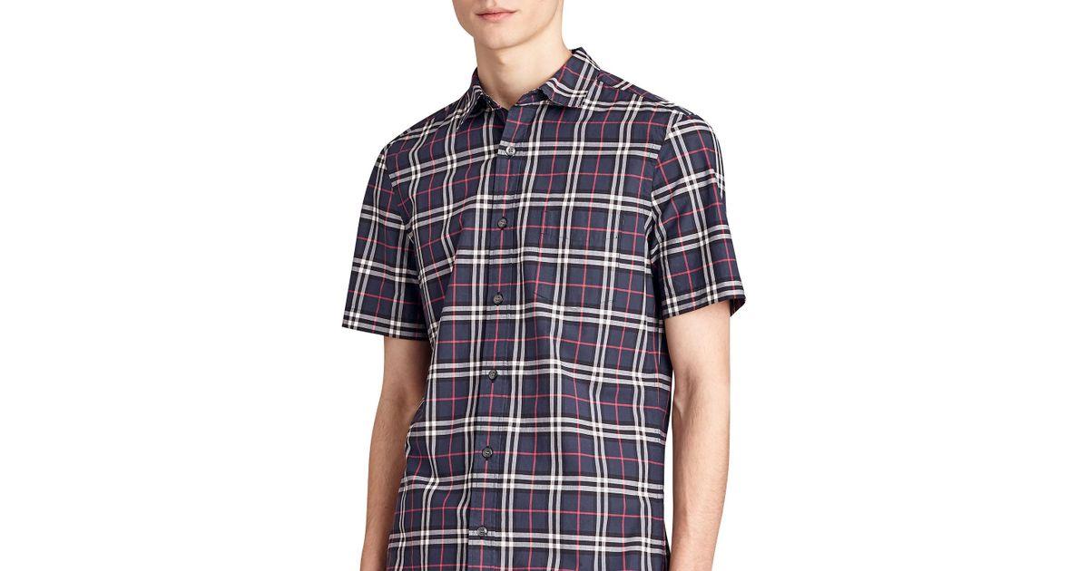 3ed734036882 Lyst - Burberry Alexander Check Short-sleeve Sport Shirt in Blue for Men
