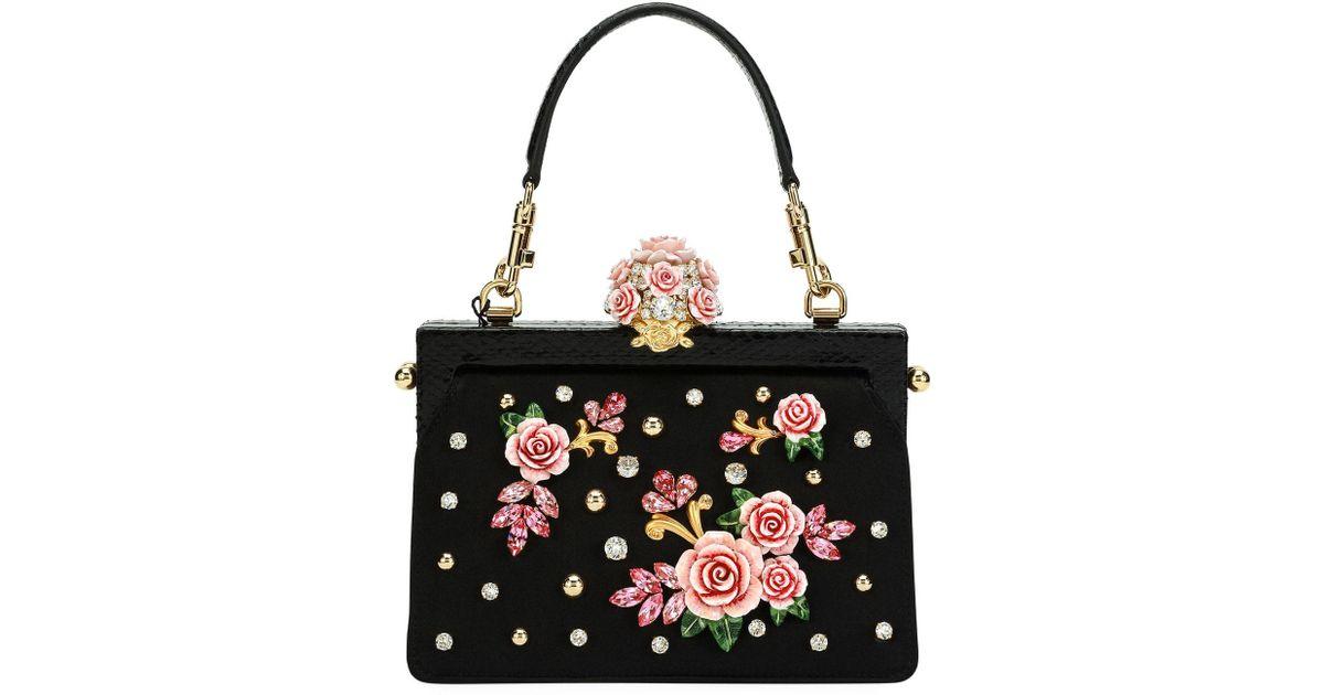 5e3c7d413b12 Dolce   Gabbana - Black Vanda Embellished Rose Evening Bag - Lyst