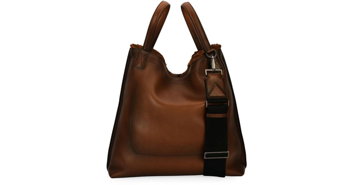 ef51f39341 Ferragamo Firenze Glow Runway Men's Leather Tote Bag With Goat Hair Trim in  Brown - Lyst