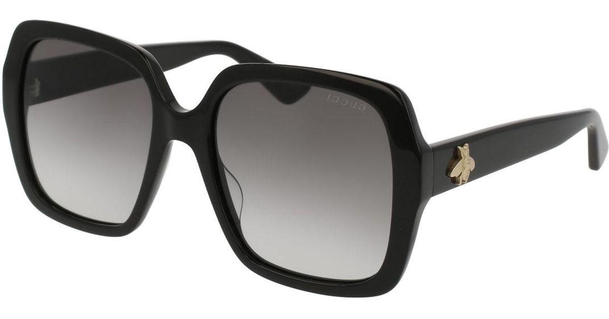 a5e304375cc39 Lyst - Gucci Square Bee   Logo Acetate Sunglasses in Brown