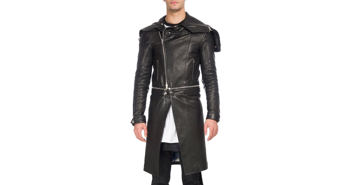 14907e18fea Lyst - Givenchy Calf Leather Long Moto Coat in Black for Men