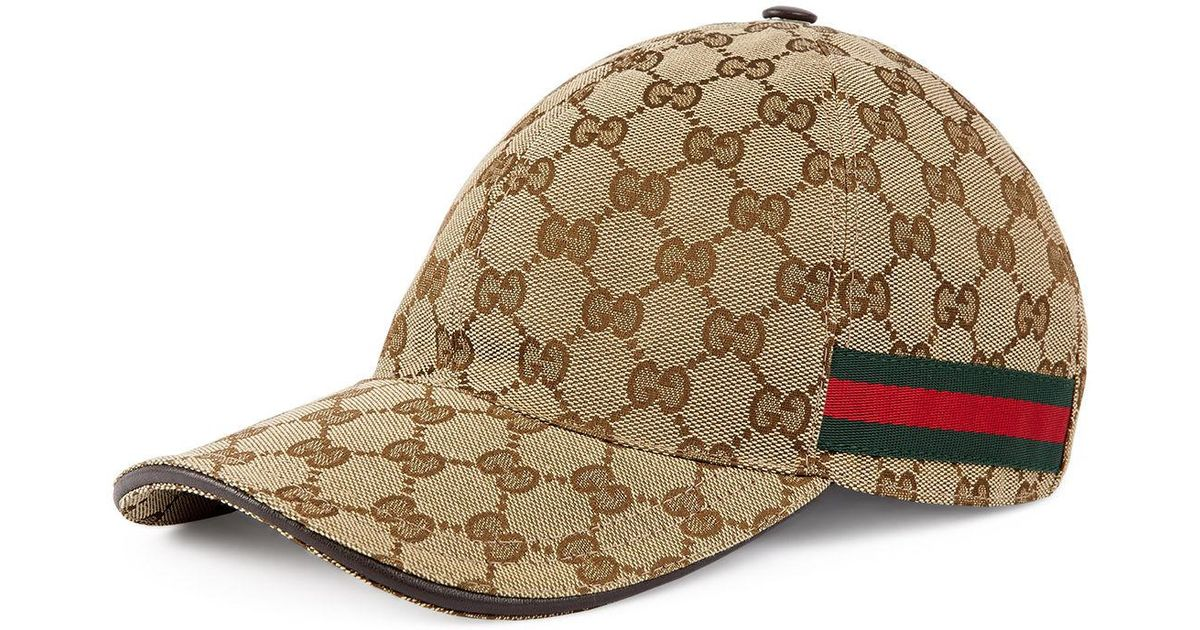 90ae71073a3 Lyst - Gucci GG Web Stripe Baseball Cap in Brown for Men