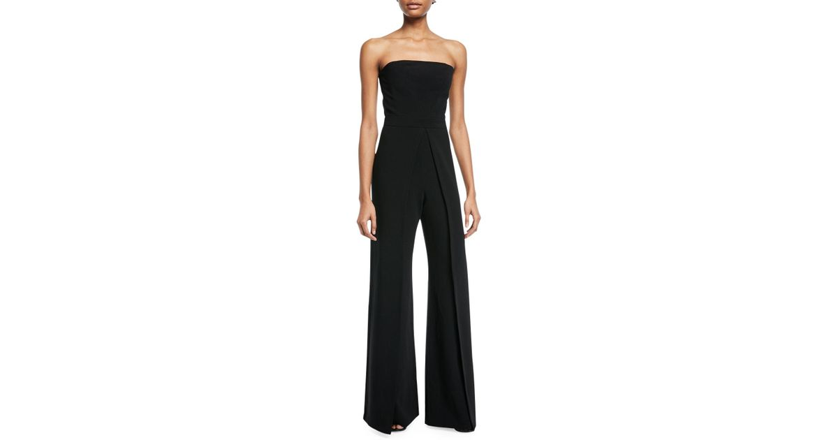b3eba217123 Lyst - Alexis Carice Strapless Flared-leg Crepe Jumpsuit in Black