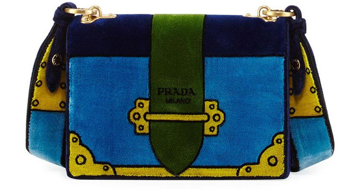 98af41442053 Lyst - Prada Cahier Trompe L oeil Velvet Shoulder Bag in Blue