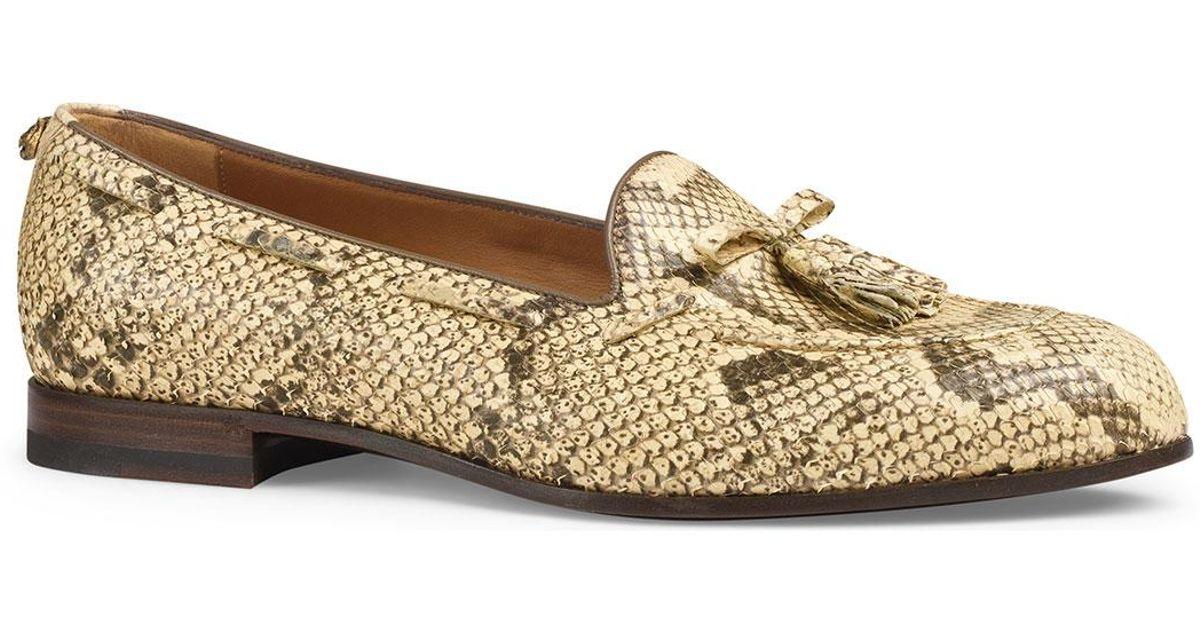 e2d1642cfaf Lyst - Gucci Python Tassel Loafer in Natural for Men