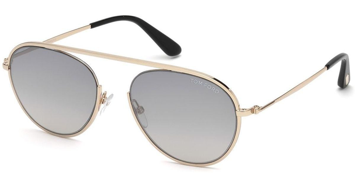 2ffc5d3960ad Lyst - Tom Ford Keith Men s Round Brow-bar Metal Sunglasses in Metallic for  Men
