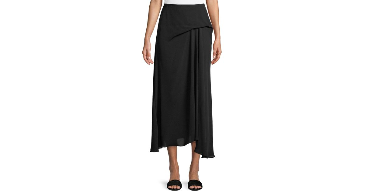 dcc43d8fa8 Theory Side Drape Midi Classic Skirt in Black - Lyst