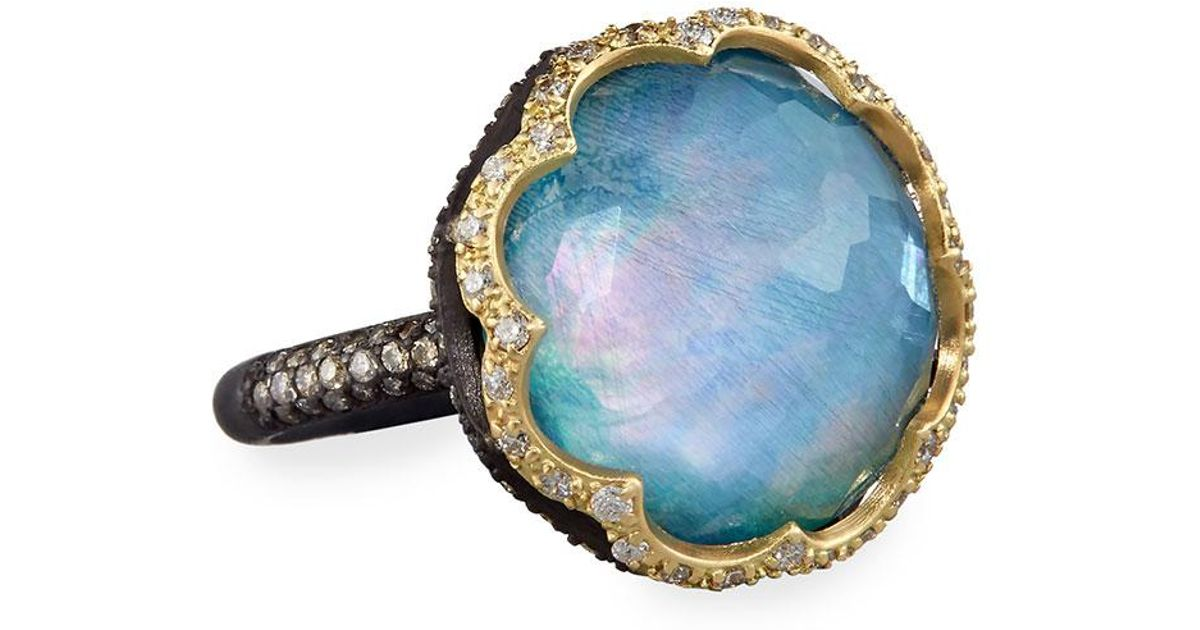 Armenta Old World Aquaprase Oval Cabochon Ring with Diamonds s1KgxC