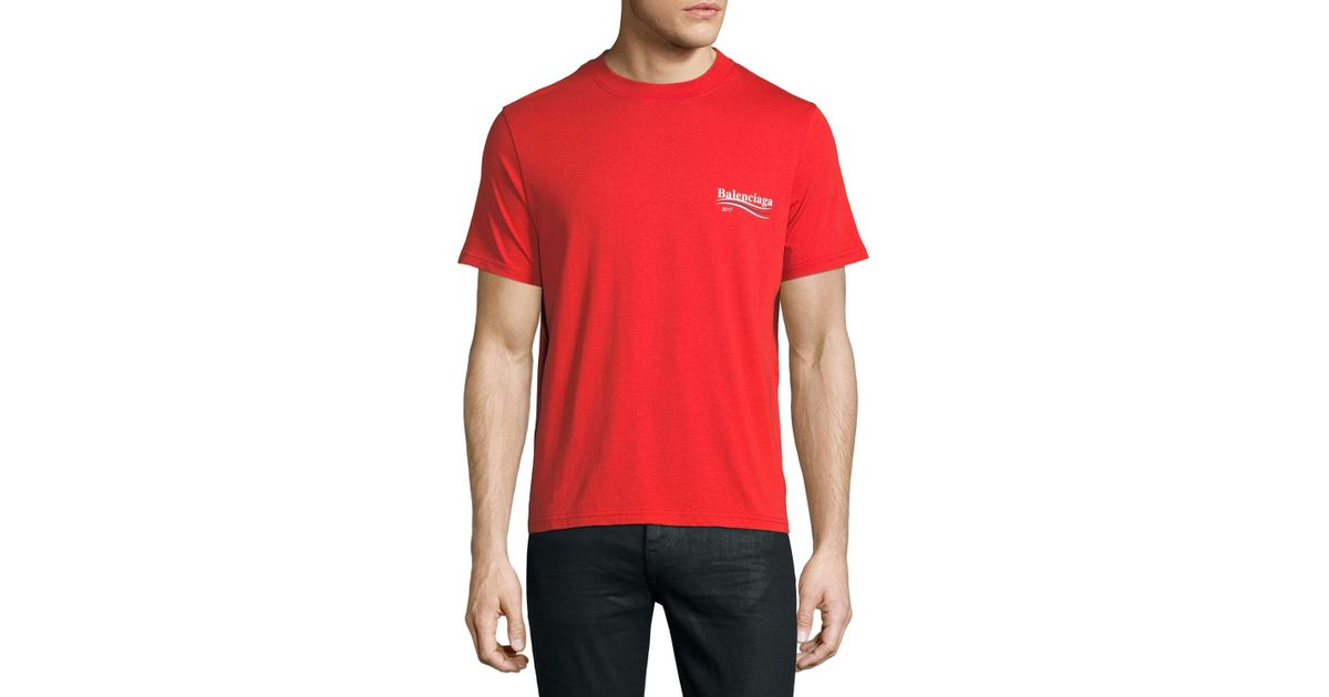 Balenciaga Short Sleeve Campaign Logo T Shirt In Red For