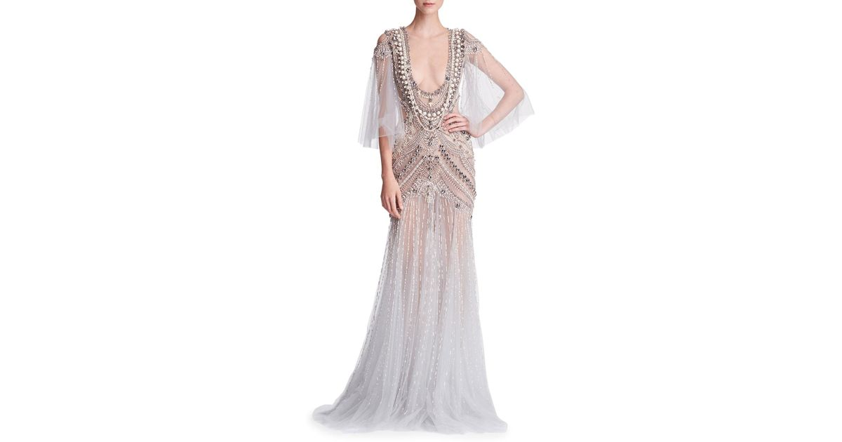 Lyst - Marchesa Cape-sleeve Embellished Tulle Evening Gown W ...