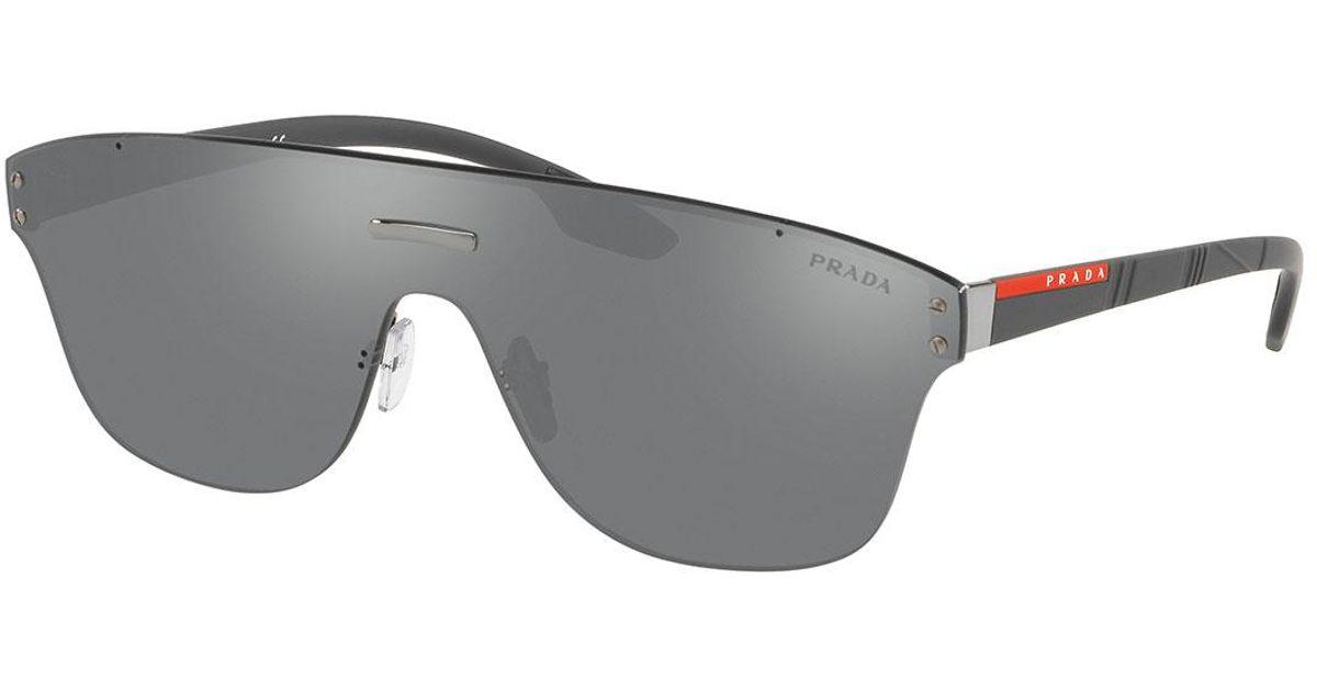 c43b14096e Lyst - Prada Men s Ps57ts Rimless Shield Sunglasses in Black for Men
