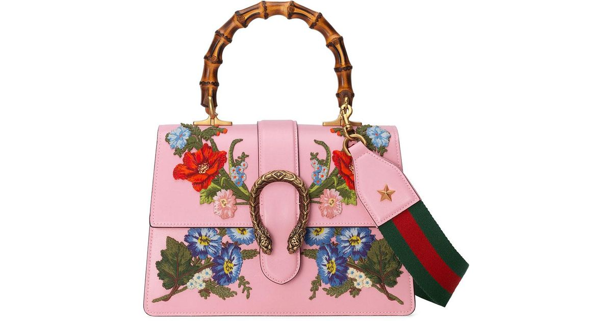 58a7db7ca Gucci Dionysus Small Embroidered Floral Satchel Bag in Pink - Lyst