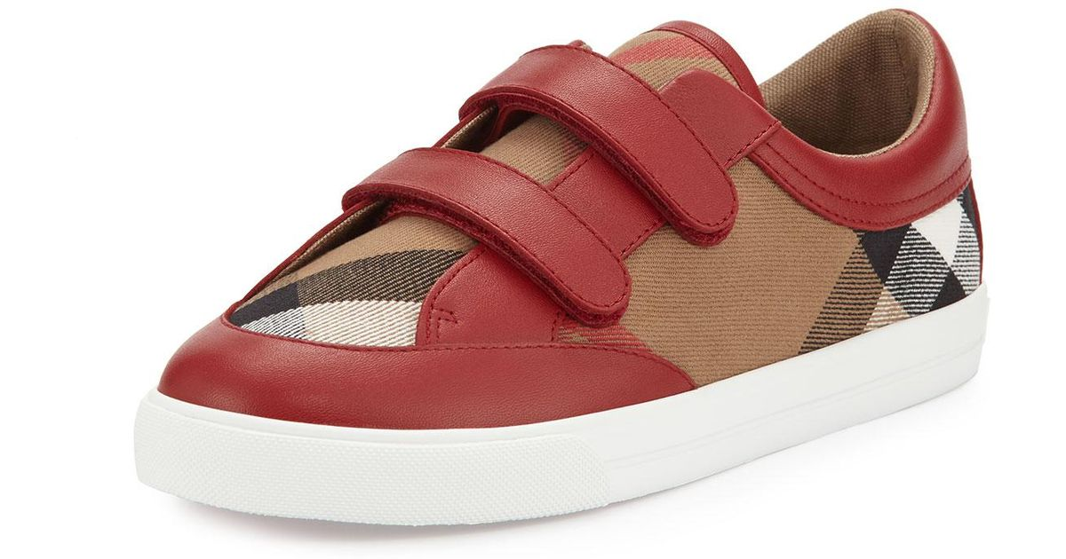 c924c05407be Lyst - Burberry Heacham Check Canvas Sneaker in Red