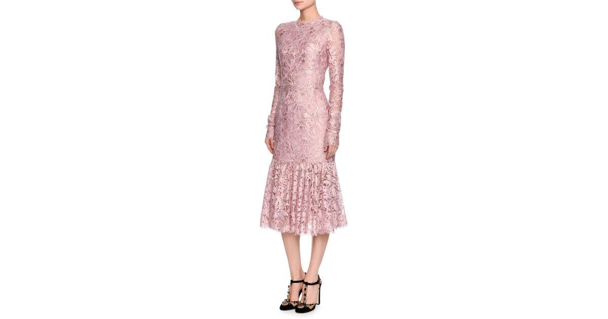 4294a6a2666a Dolce & Gabbana Long-sleeve Lace Flounce-hem Dress in Pink - Lyst