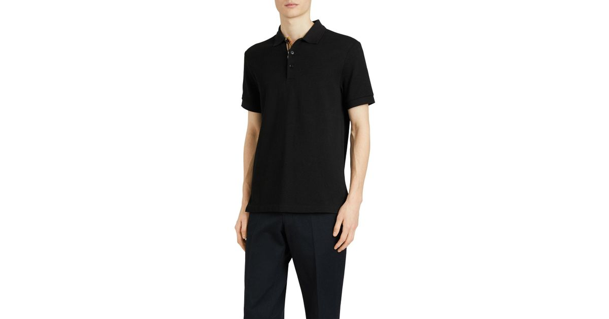 de1061f785c7 Lyst - Burberry Men s Hartford Check-facing Polo Shirt in Black for Men