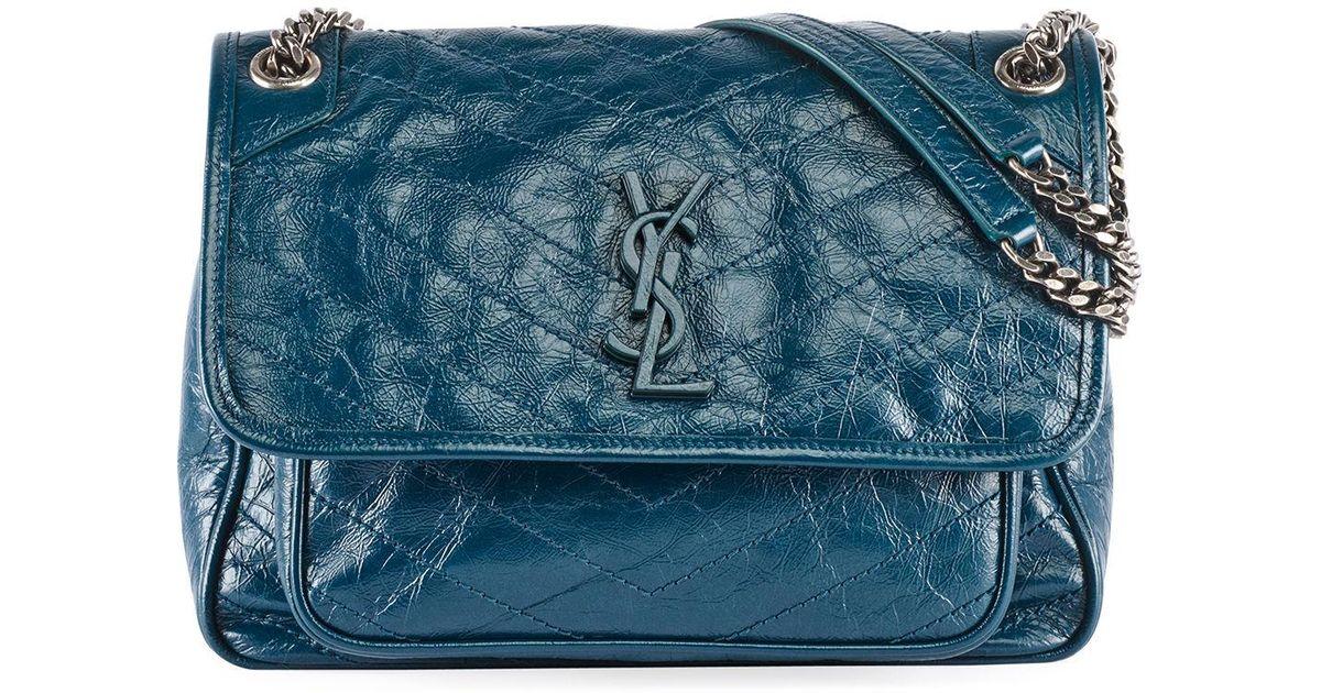 e7b95940c1 Saint Laurent Niki Medium Monogram Ysl Shiny Waxy Quilted Shoulder Bag in  Blue - Lyst