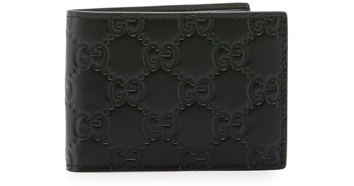 eeb4c165257 Lyst - Gucci Signature Leather Bi-fold Wallet in Black for Men