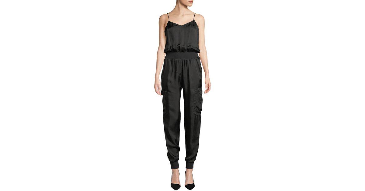 845d5ba8c7c Lyst - Cinq À Sept Amia Twill V-neck Jumpsuit in Black