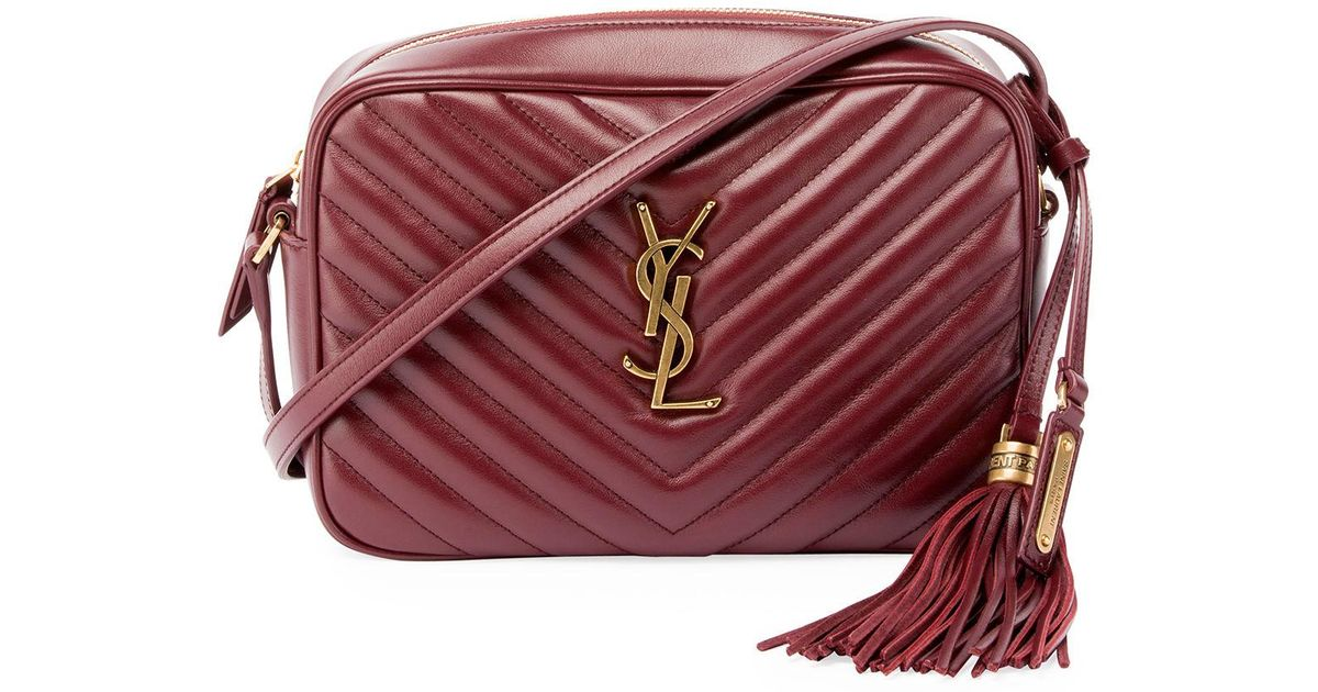 015f3a60e4c40 Lyst - Saint Laurent Loulou Monogram Ysl Medium Chevron Quilted Leather  Camera Shoulder Bag in Red