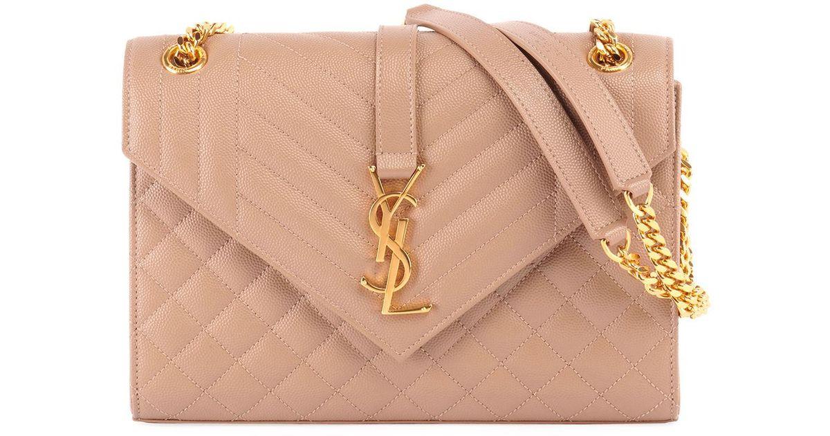 Saint Laurent V Flap Monogram Ysl Medium Envelope Chain Shoulder Bag -  Golden Hardware - Lyst 38d14b99db66e