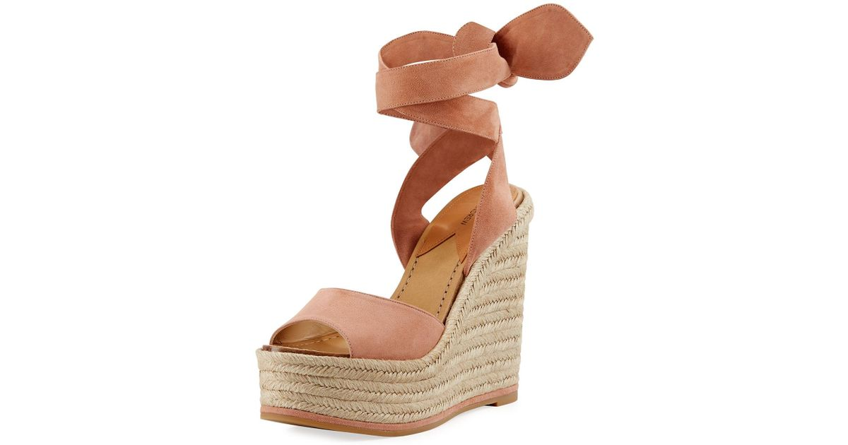 a6f45cbb37a Paul Andrew - Pink Lulea Suede Espadrille Wedge Sandal - Lyst
