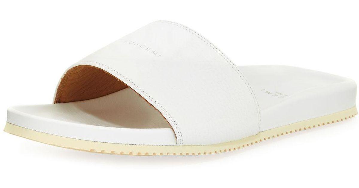 ea88b8890774 Lyst - Buscemi Men s Leather Slide Sandal in White for Men