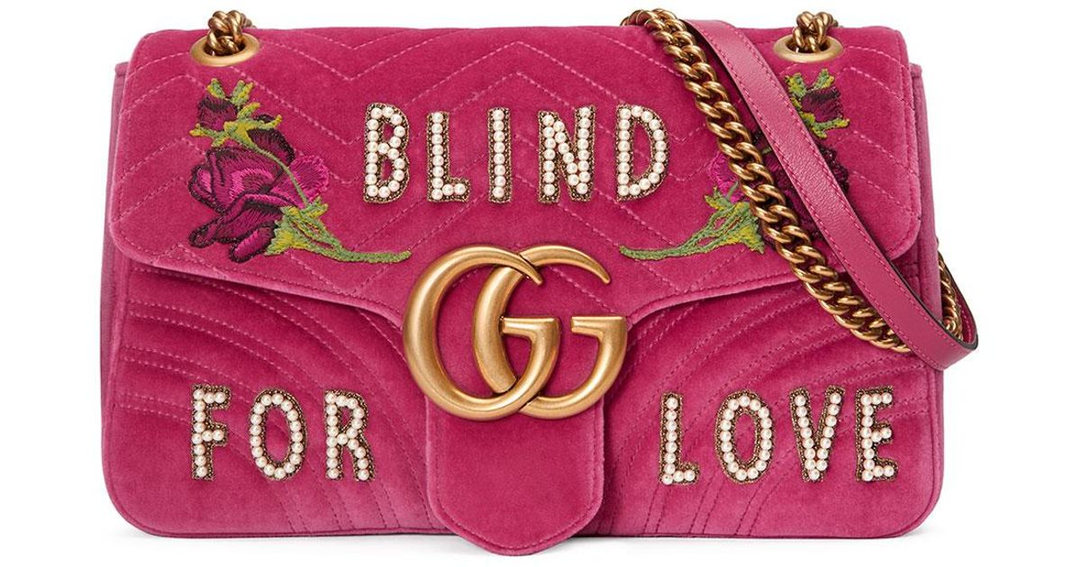 1c7bd612d81d Gucci Gg Marmont Medium Embroidered Velvet Blind For Love Shoulder Bag in  Pink - Lyst